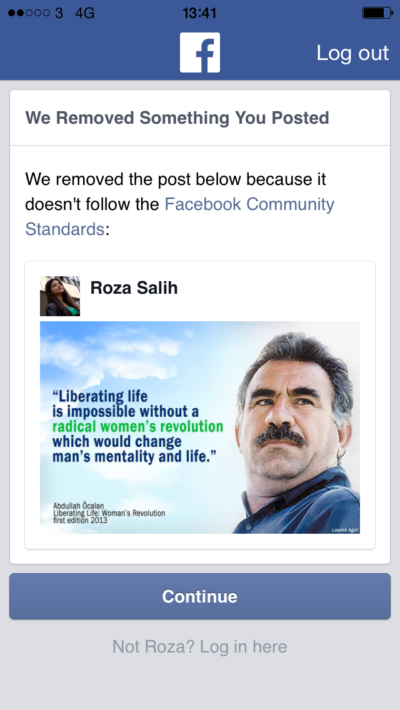 Roza Salih was banned for 30 days by Facebook for posting a cover image of imprisoned Kurdish leader Abdullah Ocalan.
