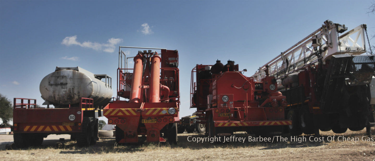 Kalahari Energy fracking trucks in Botswana, near the Khama Rhino Sanctuary.