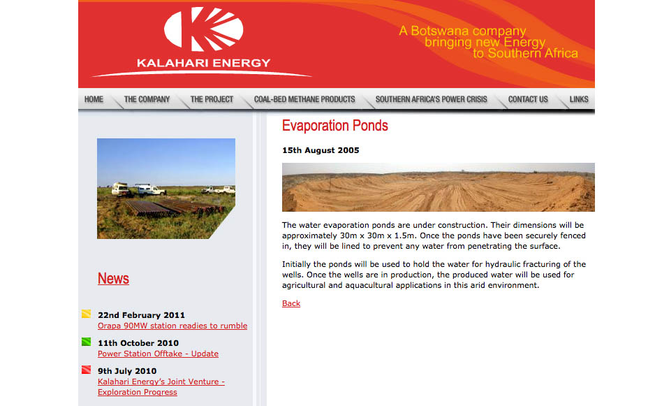 Kalahari Energy website