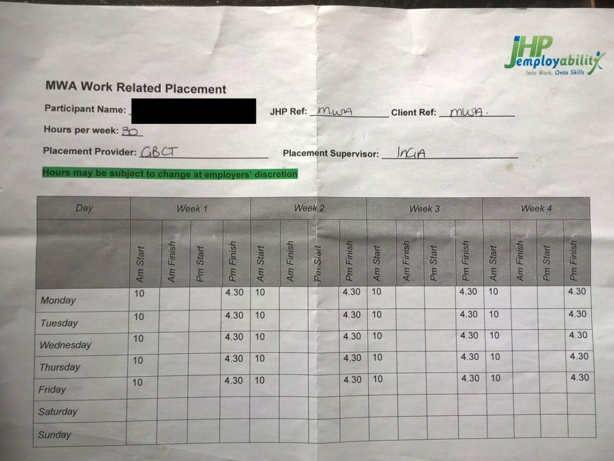 GBCT Redacted MWA Time sheet