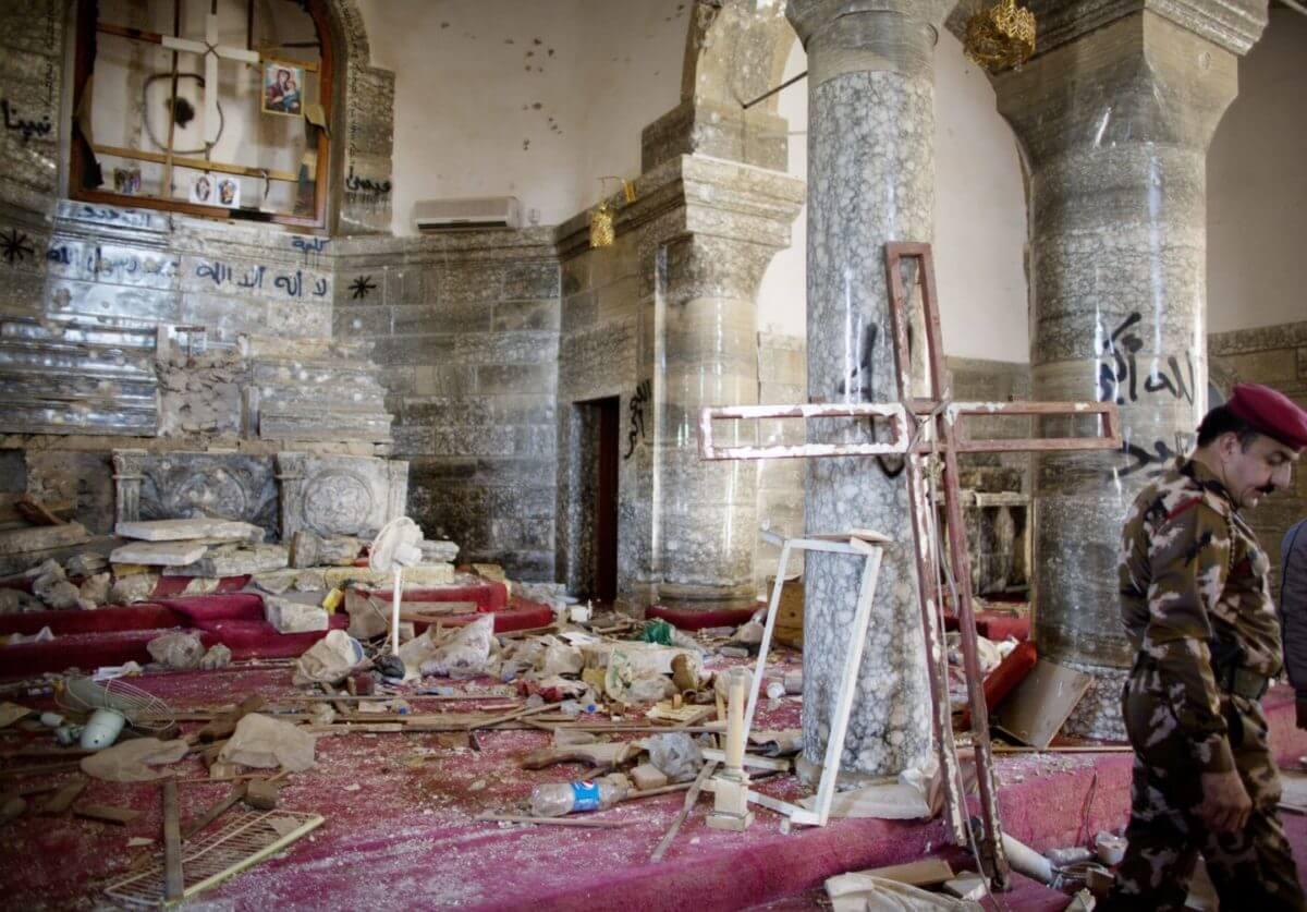 Inside the vandalised church