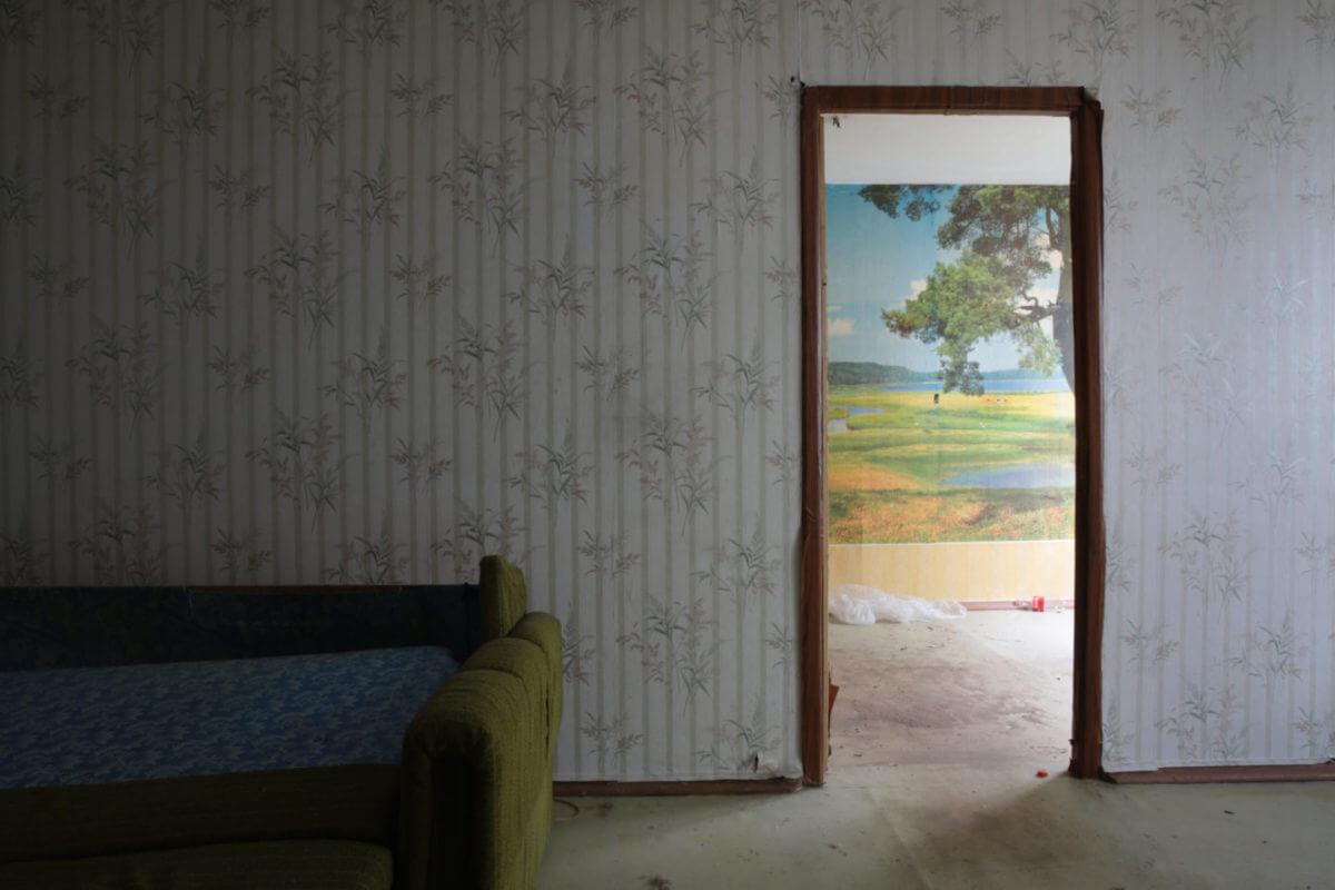 Empty rooms inside flats in the process of demolition in the Krilatskoye District