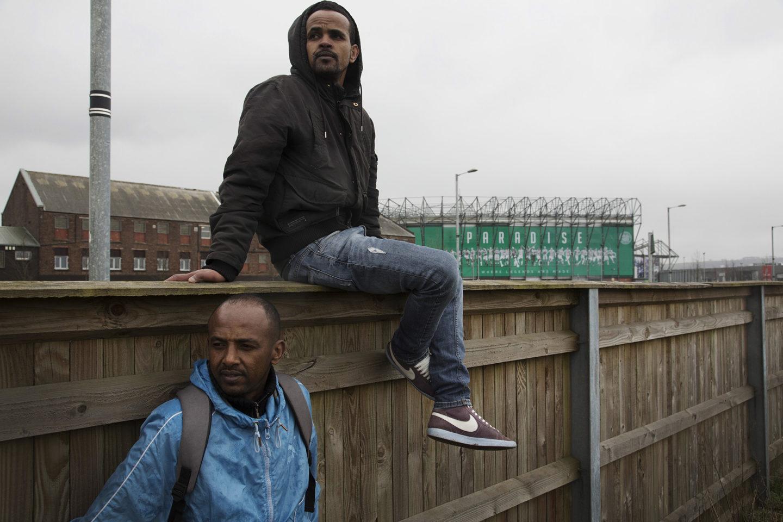 Eritrean refugees near Celtic Park in Glasgow