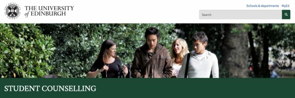 University of Edinburgh counselling page