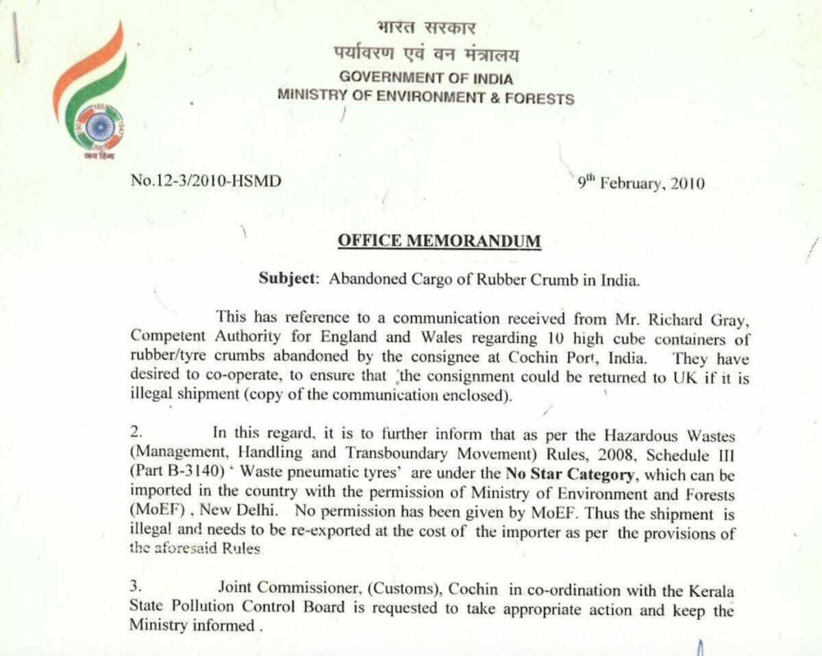 Indian Government letter extract