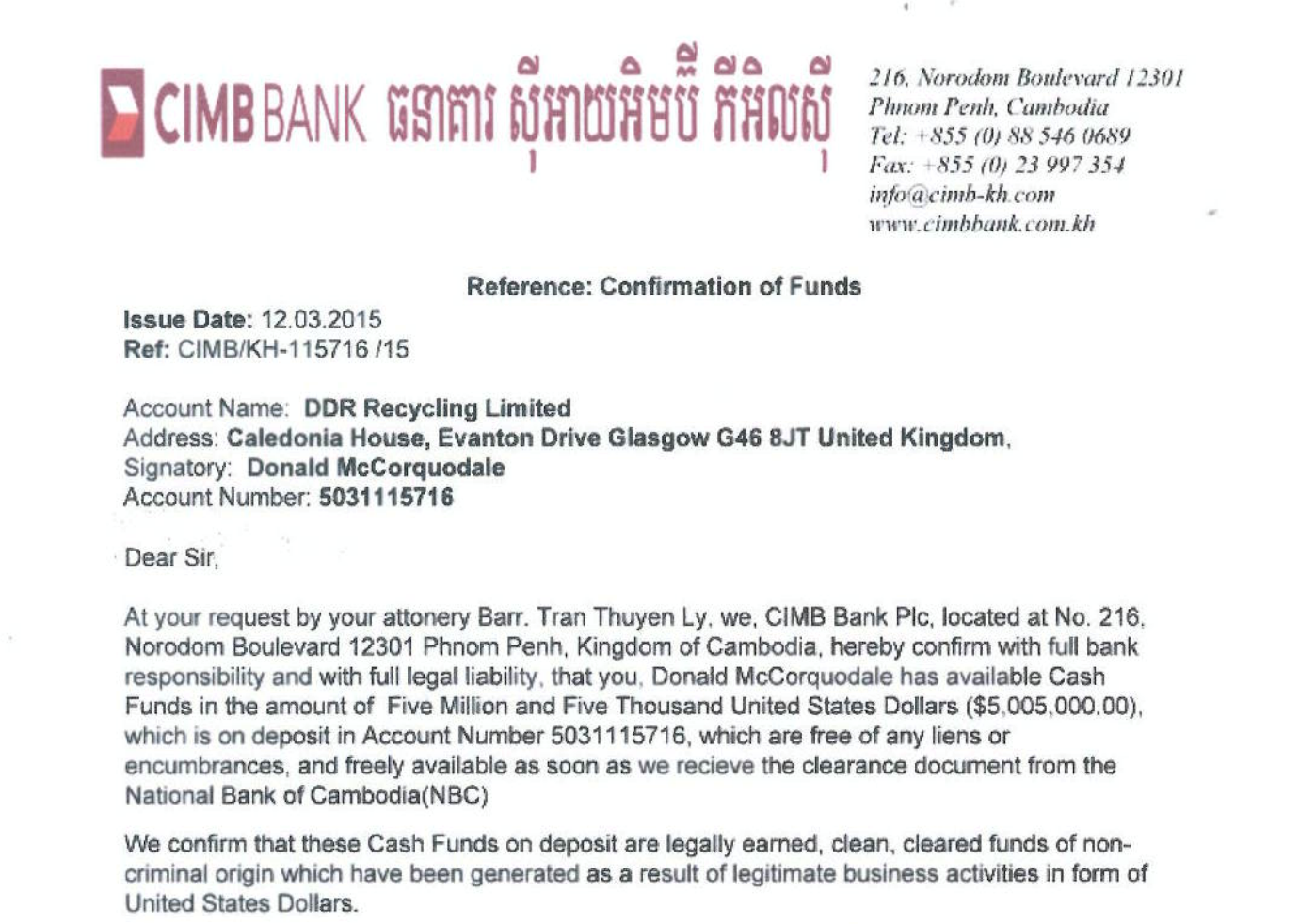 Cambodian bank confirmation of funds