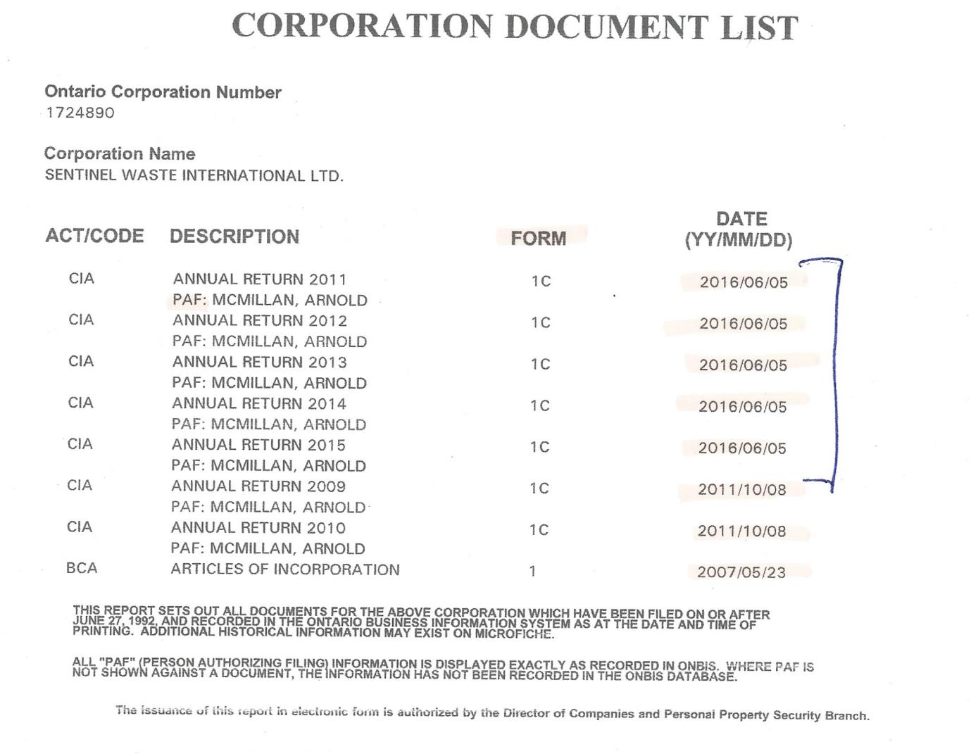 Sentinel Waste International Ltd filing history
