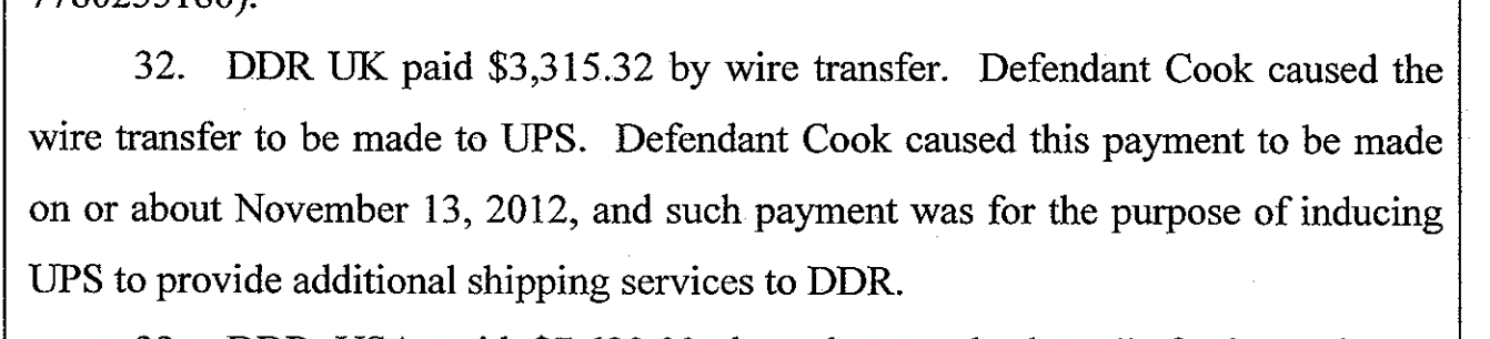 Extract of court document naming Richard Cook as defendant