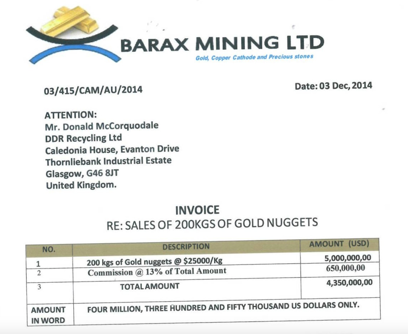 Barax Mining Ltd invoice to DDR Recycling