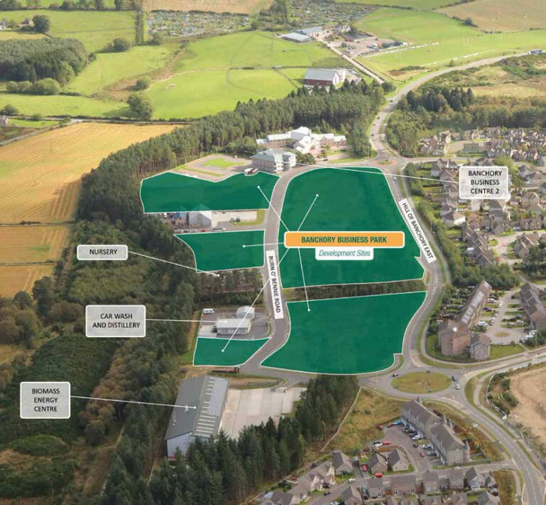A schematic showing the layout of Banchory Business Park