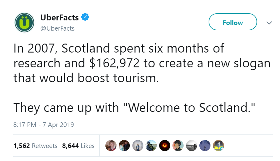 Claim 'Welcome to Scotland' slogan cost $162,972 is Mostly False