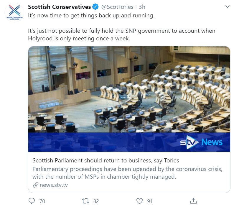 Scottish Conservative Party Tweet