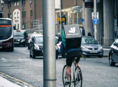 Deliveroo deliivery worker in Edinburgh