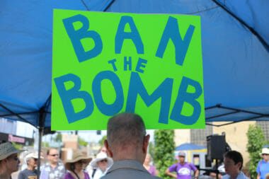 ban the bomb poster nuclear weapons