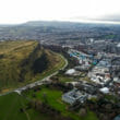 Aerial View Iconic Landmarks Arthur's Seat Hill in Edinburgh Scotland UK