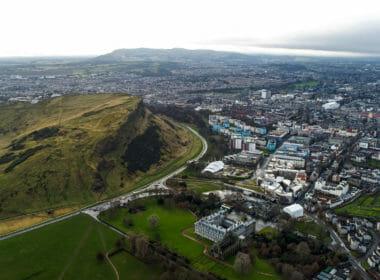 Aerial View Iconic Landmarks Arthur's Seat Hill in Edinburgh Scotland UK