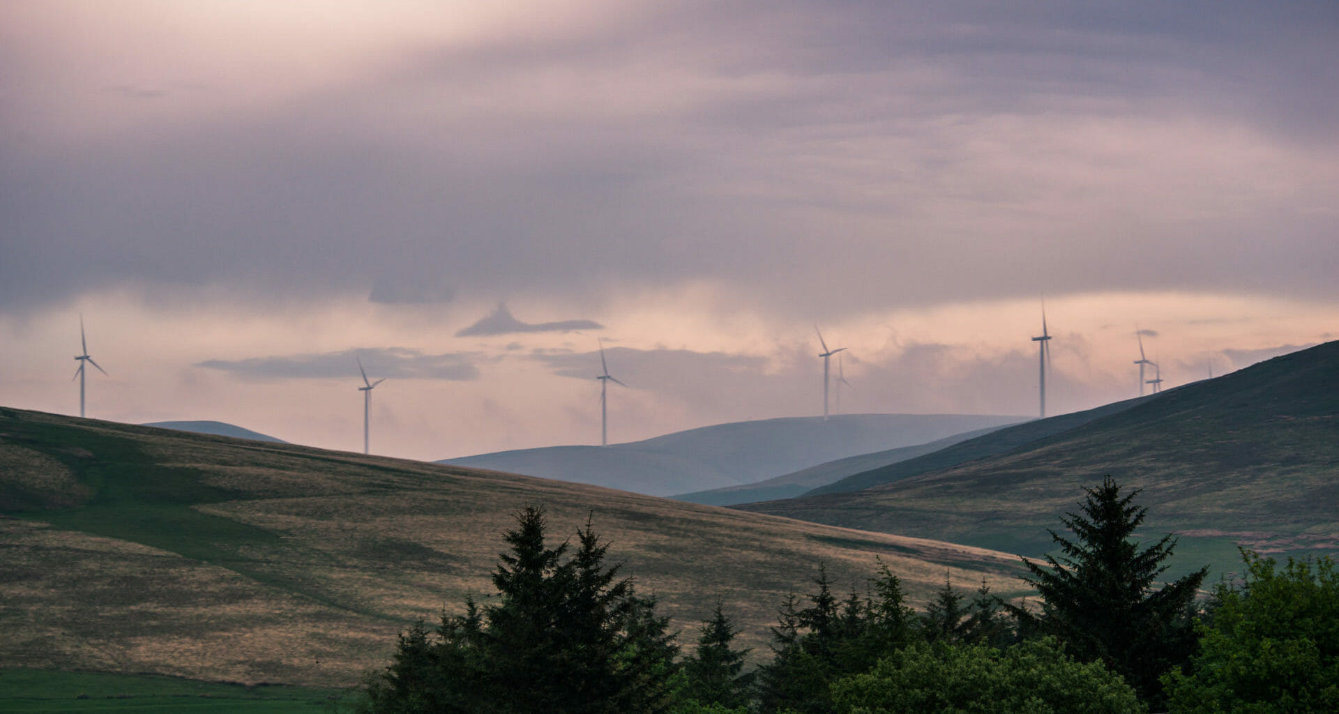 Wind turbines on a Scottish hillside